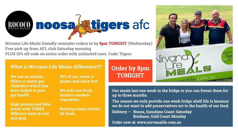 Noosa Tigers Nirvana Life Promotion